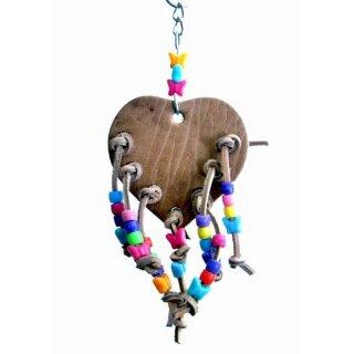 Papageienspielzeug Leder Herz